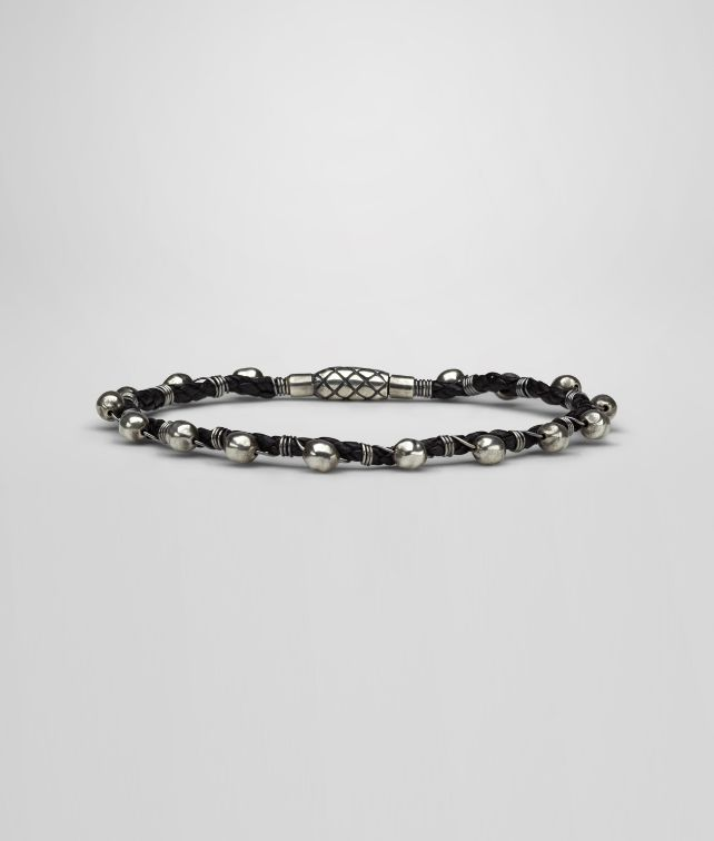 BOTTEGA VENETA Armband aus oxidiertem Silber und Nappaleder Intrecciato Armband U fp