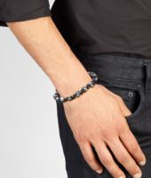 Ebano Intrecciato Antique Silver and Nappa Bracelet