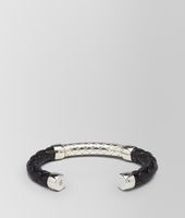 Nero Intrecciato Antique Silver and Nappa Bracelet