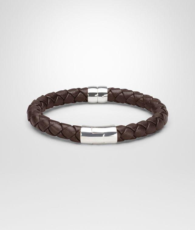 Bracelet en nappa et argent vieilli intrecciato ebano