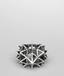 BOTTEGA VENETA - Rings, Nero Enameled Antique Silver Ring