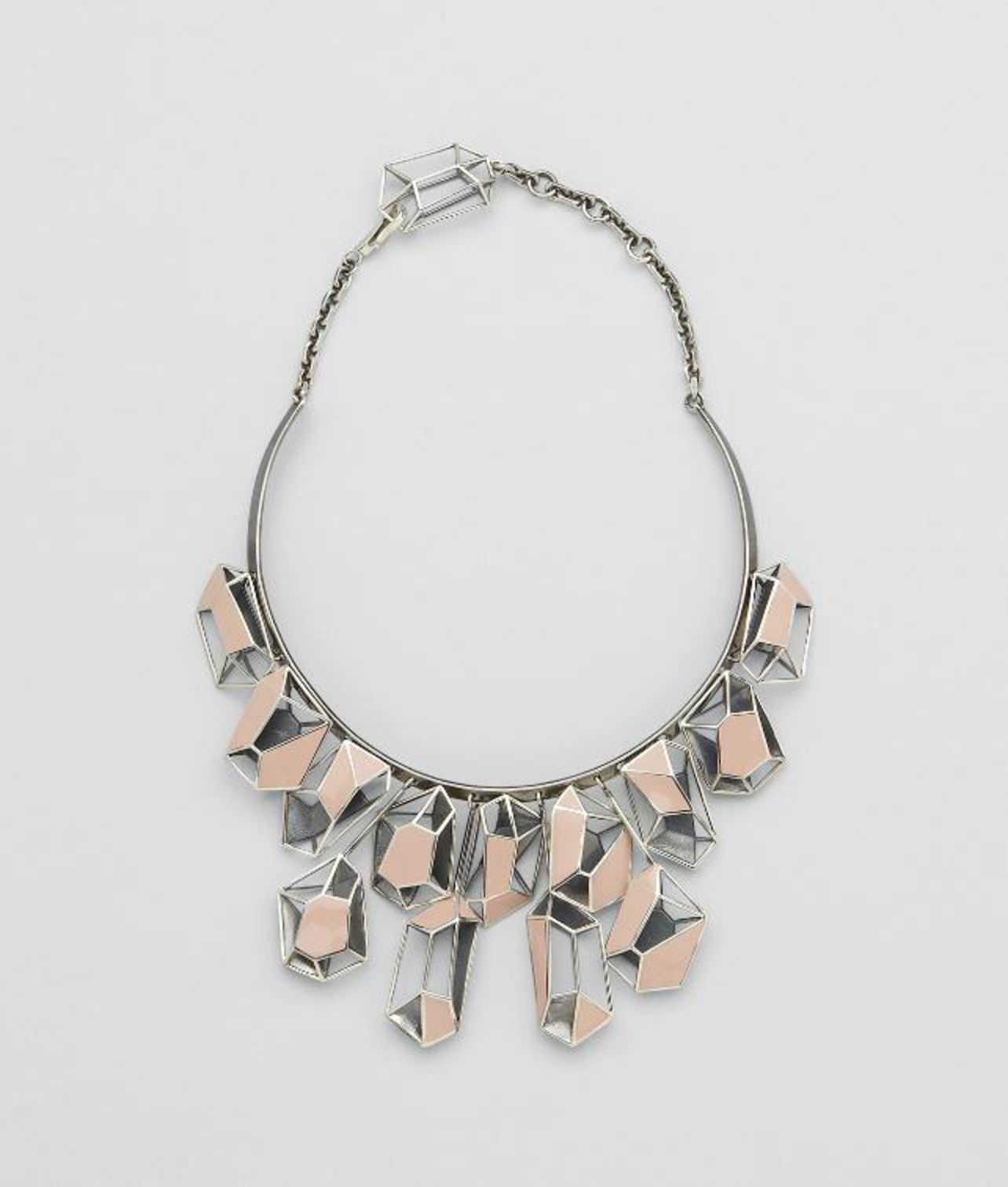 BOTTEGA VENETA - Enamelled Antique Silver Necklace