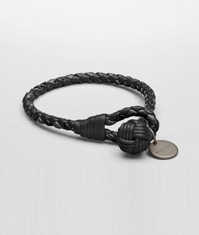 Armband aus Nappaleder und Ayers Intrecciato in Nero