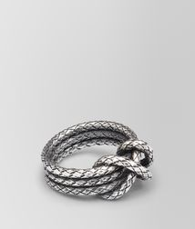 BOTTEGA VENETA - Rings, Intrecciato Antique Silver Ring