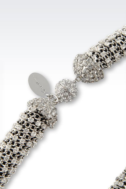 NECKLACE WITH WHITE RHINESTONE: Necklaces Women by Armani - 2
