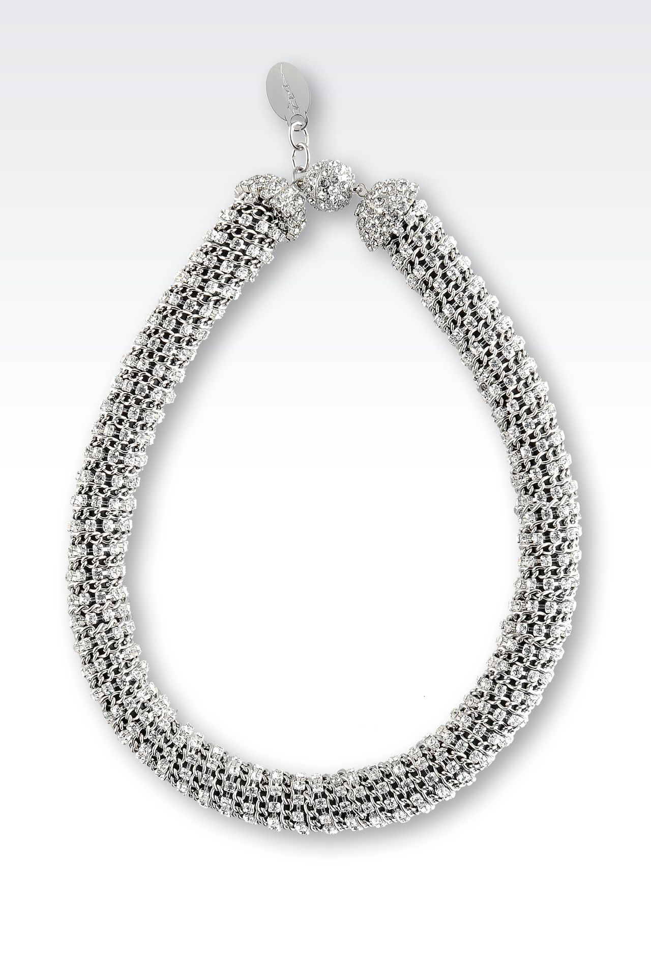 NECKLACE WITH WHITE RHINESTONE: Necklaces Women by Armani - 0