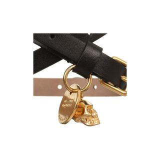 ALEXANDER MCQUEEN, Bracelet, Leather Double Wrap Skull Bracelet