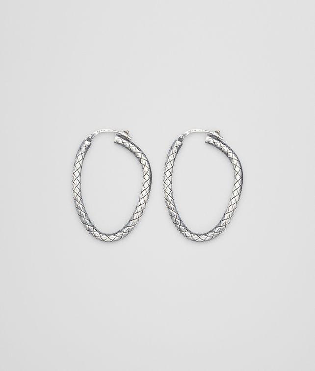 BOTTEGA VENETA Antique Silver Intrecciato Coaxial Earring Earrings D fp