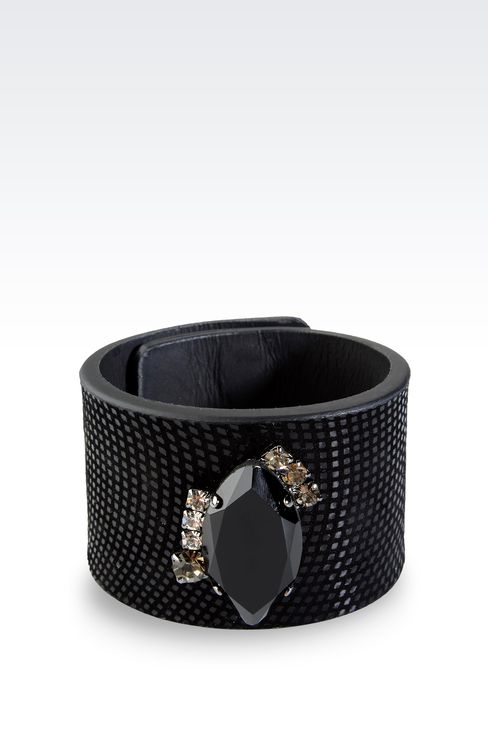 LEATHER BRACELET WITH STONE EMBELLISHMENT: Bracelet Women by Armani - 1