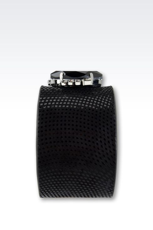 LEATHER BRACELET WITH STONE EMBELLISHMENT: Bracelet Women by Armani - 2
