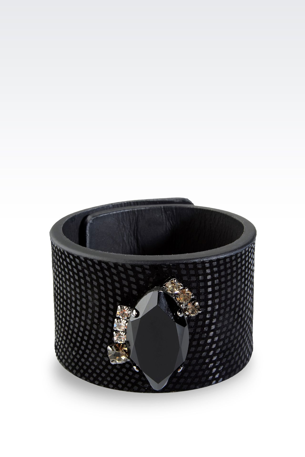 LEATHER BRACELET WITH STONE EMBELLISHMENT: Bracelet Women by Armani - 0