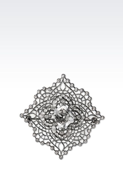 BROOCH WITH WHITE RHINESTONES: Brooches Women by Armani - 1