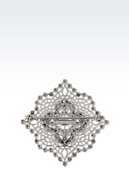 BROOCH WITH WHITE RHINESTONES: Brooches Women by Armani - 2