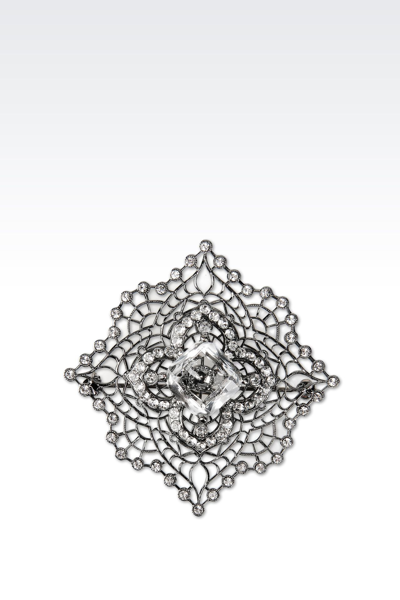 BROOCH WITH WHITE RHINESTONES: Brooches Women by Armani - 0