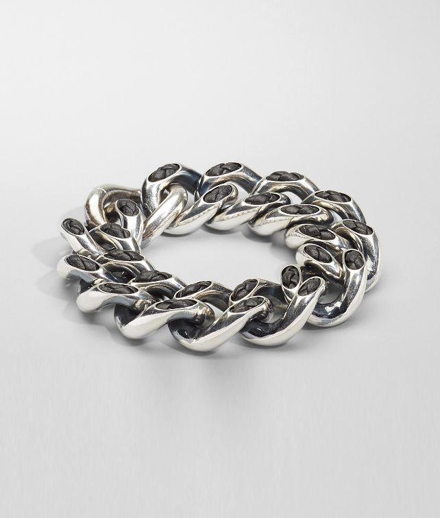 BOTTEGA VENETA Nero Intrecciato Nappa Intreccio Svanito Silver Bracelet Bracelet D fp