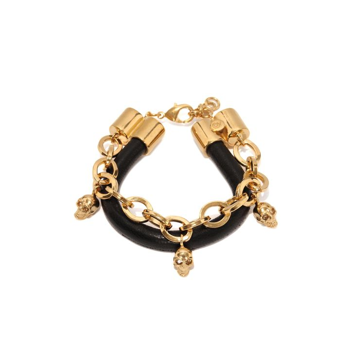 Alexander McQueen, Skull Charm Chain Leather Bracelet
