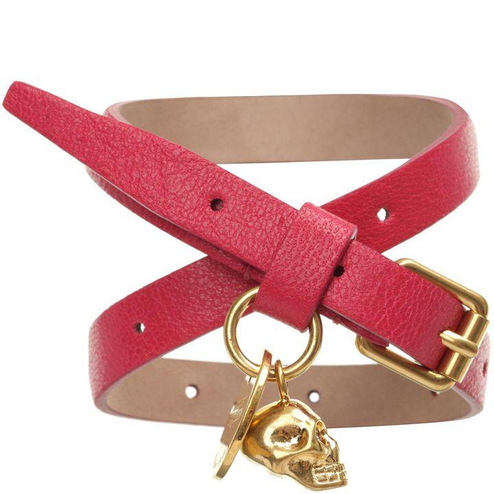 Alexander McQueen, Leather Double Wrap Skull Bracelet