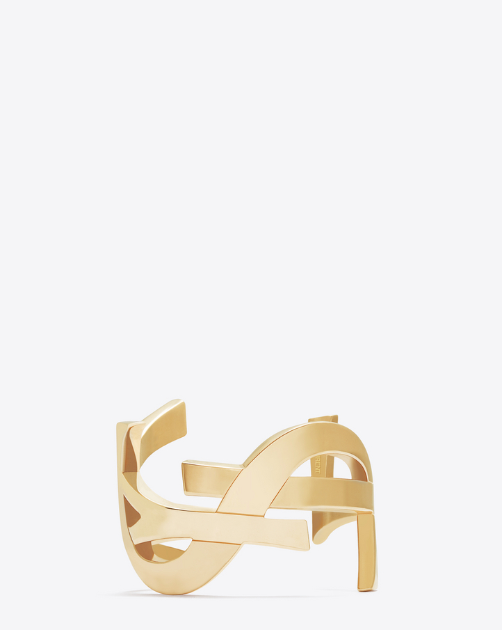 saint laurent monogram cuff in gold toned brass