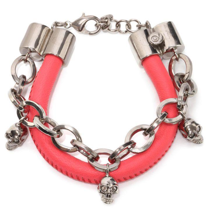 Alexander McQueen, Bracelet cuir et chaîne, breloques Skull