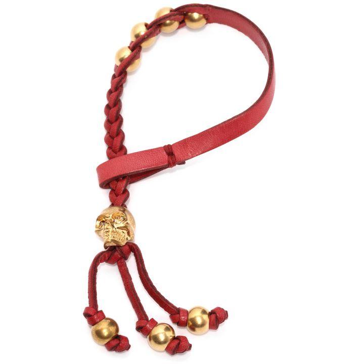 Alexander McQueen, Plaited Leather Skull Bracelet