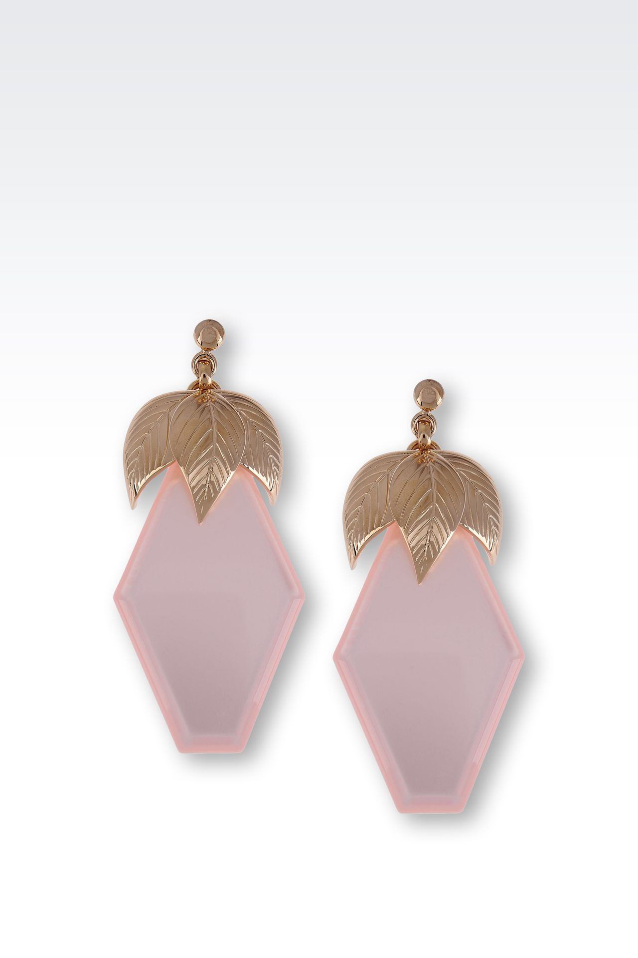 RESIN EARRINGS WITH GOLD METAL LEAVES: Earrings Women by Armani - 0