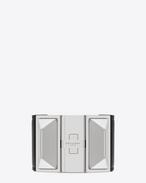 Clous Punk Pyramiden-Armband aus schwarzem Leder und silberfarbenem Metall