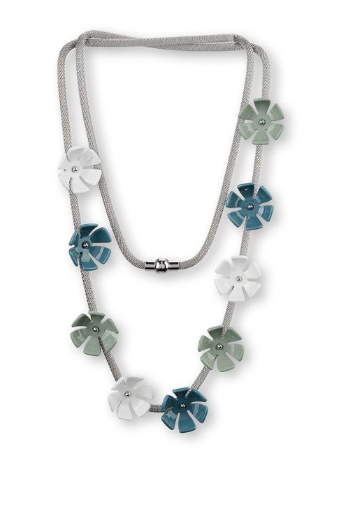 METAL NECKLACE WITH RESIN FLOWERS: Necklace Women by Armani - 1