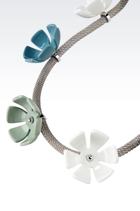 METAL NECKLACE WITH RESIN FLOWERS: Necklace Women by Armani - 2