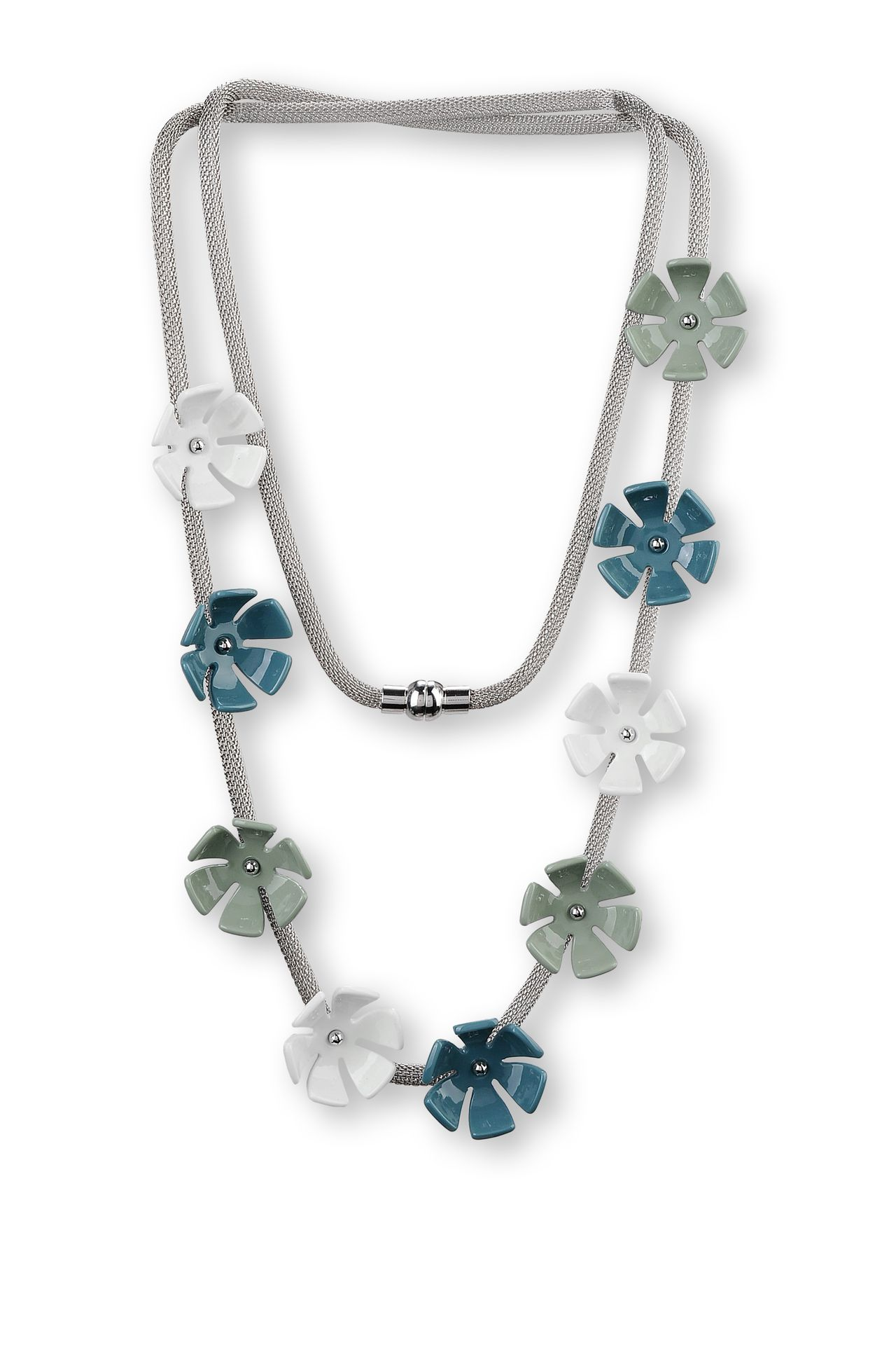 METAL NECKLACE WITH RESIN FLOWERS: Necklace Women by Armani - 0