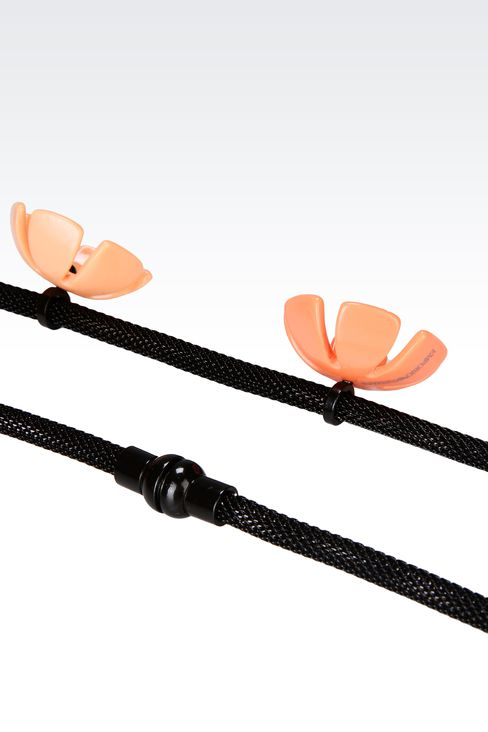 METAL NECKLACE WITH RESIN FLOWERS: Necklace Women by Armani - 3