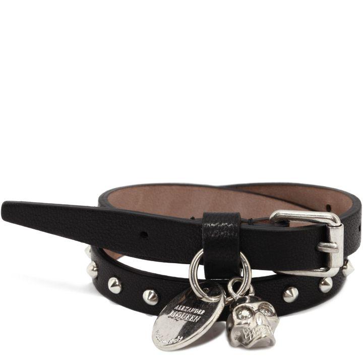 Alexander McQueen, Studded Leather Double Wrap Skull Bracelet