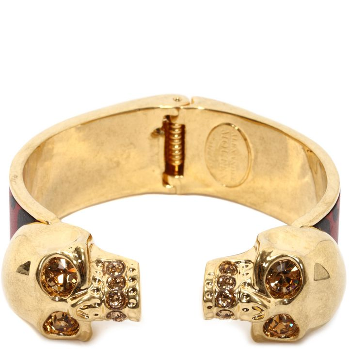 Alexander McQueen, Bracelet-manchette Twin Skull en cuir façon patchwork