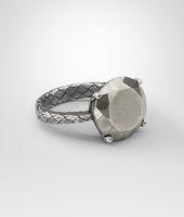 Pyrite Intrecciato Oxydized Silver Ring