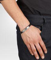 Nero Intrecciato Oxidized Silver Cuir Bracelet