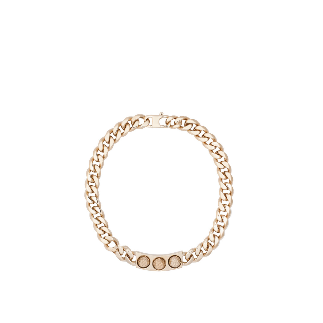 Classic Pale Gold 3 Studs Necklace
