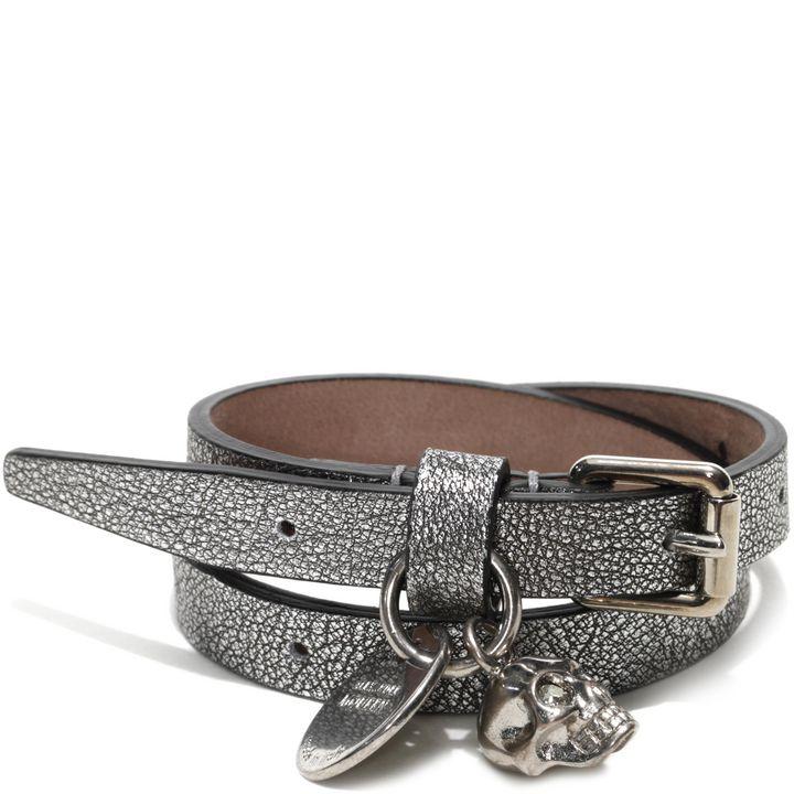Alexander McQueen, Metallic Double Wrap Skull Bracelet