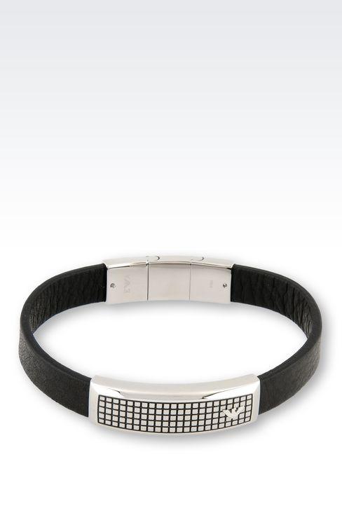 BRACELET EN CUIR ET ACIER  Bracelets Homme by Armani , 1
