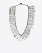 Plumes Fringe Necklace in Old Silver-Toned Brass