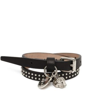 ALEXANDER MCQUEEN, Bracelet, Studded Leather Double Wrap Skull Bracelet