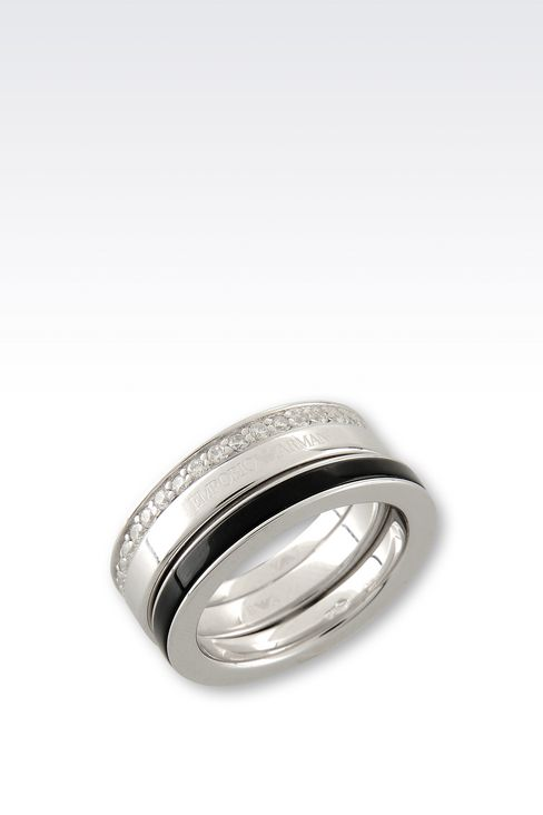 RING IN SILVER AND ONYX: Rings Women by Armani - 1