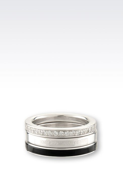 RING IN SILVER AND ONYX: Rings Women by Armani - 2