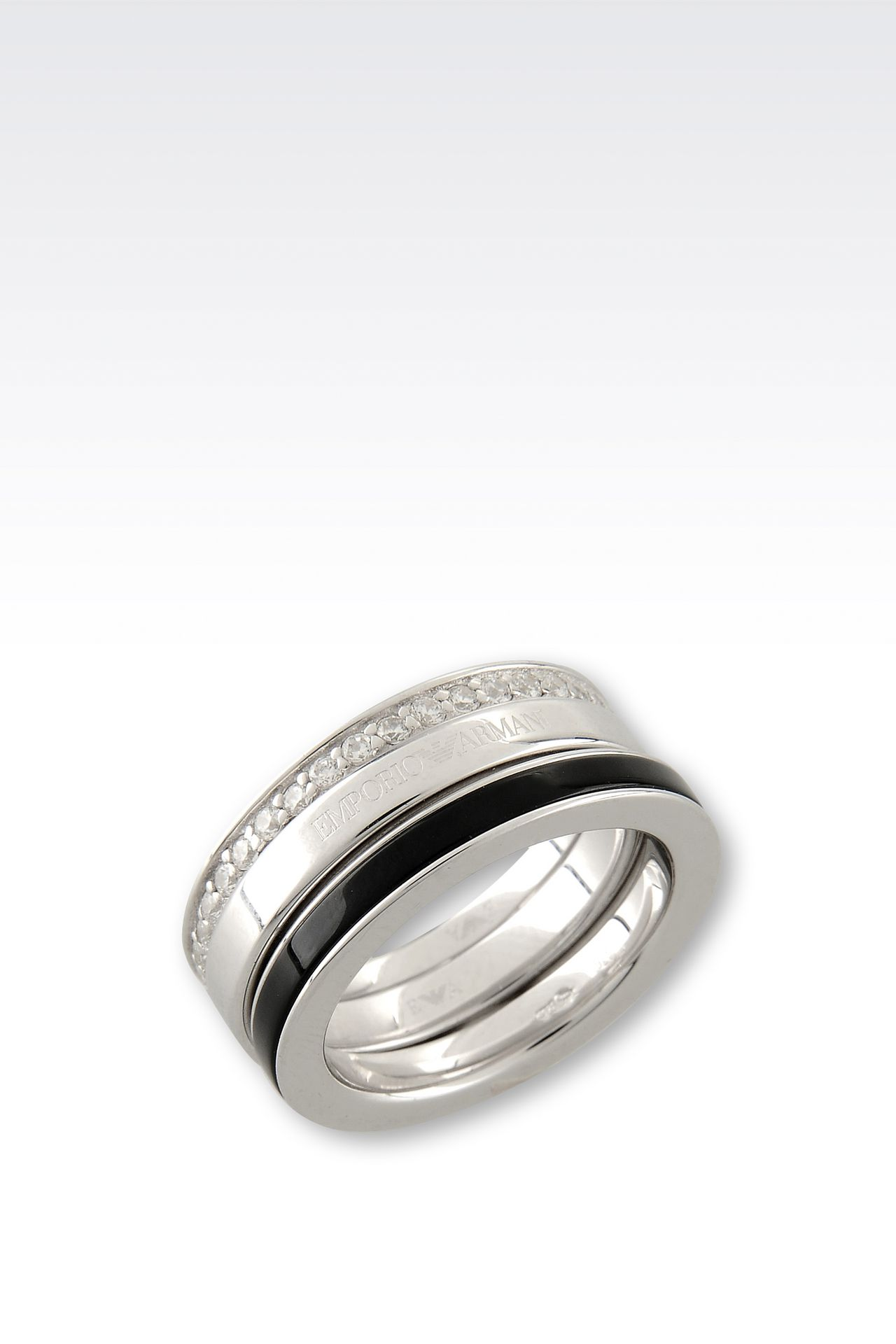 RING IN SILVER AND ONYX: Rings Women by Armani - 0
