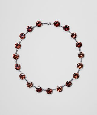 RUSSET SILVER AND STONES NECKLACE