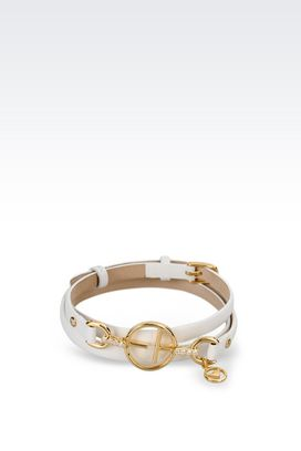 Armani Bracelet Women leather bracelet with gold-plated charm