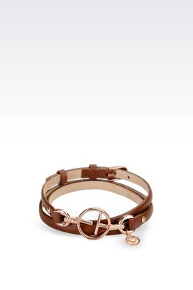 Armani Bracelet Women leather bracelet with rose gold-plated charm