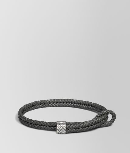 BRACELET EN INTRECCIATO NAPPA NEW LIGHT GREY ET ARGENT