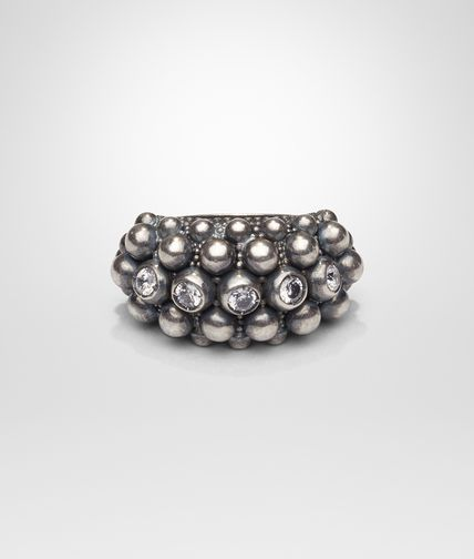 GREY SILVER AND STONES RING