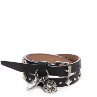 ALEXANDER MCQUEEN, Bracelet, Studded Leather Double Wrap Charm Bracelet