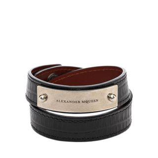 ALEXANDER MCQUEEN, Bracelet, Metal Plate Leather Bracelet