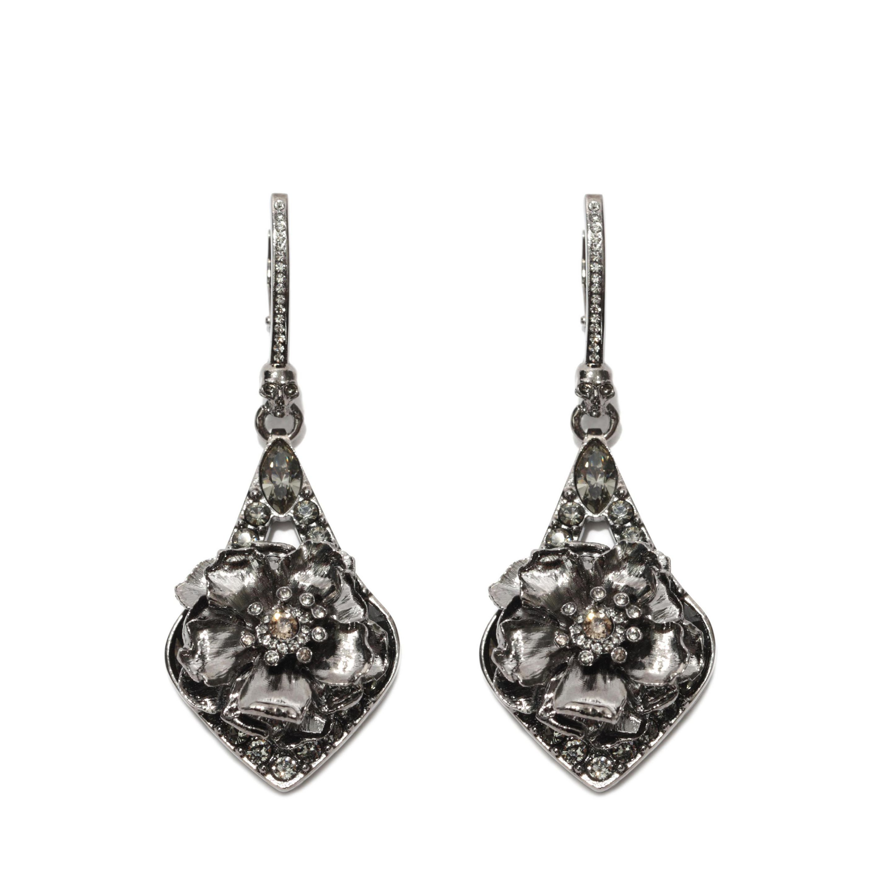 Jeweled Floral Earrings Alexander McQueen